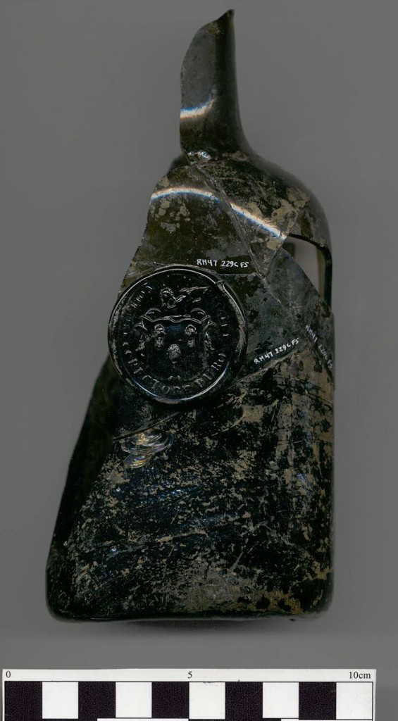 Bottle stamped with Isaac Royall's personal seal