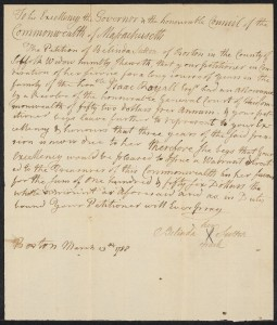 Belinda Sutton's 1788 petition. Courtesy of Mass. Archives